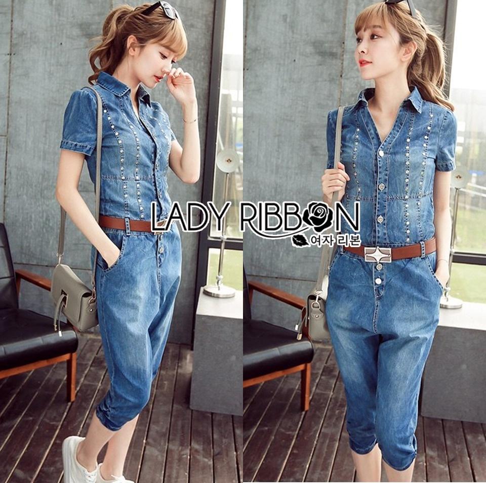 Lady Alison Sporty Elegant Embellished Denim Pantsuit wit Belt L199-95C07