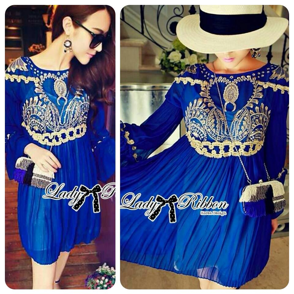 DR-LR-151 Lady Jacqueline Embroidered Chiffon Pleated Dress in Electric Blue
