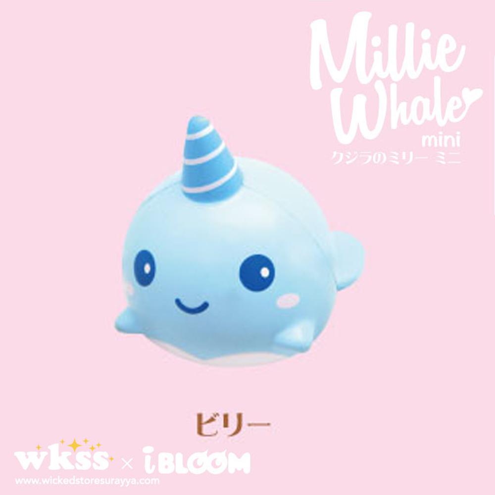 I163 สกุชชี่ Billie mini สีฟ้า หน้ายิ้ม (super soft) ขนาด 8 cm ลิขสิทธิ์แท้ ญี่ปุ่น