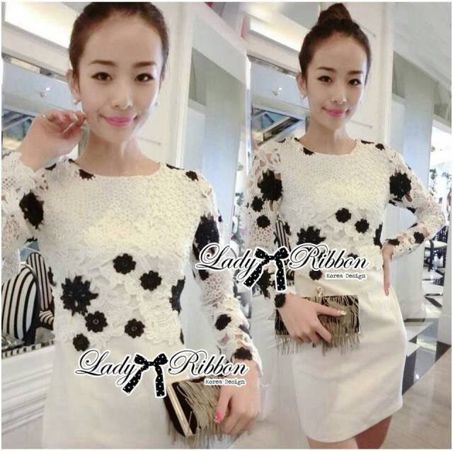 DR-LR-266 Lady Elegant Monochrome Embroidered Lace Dress