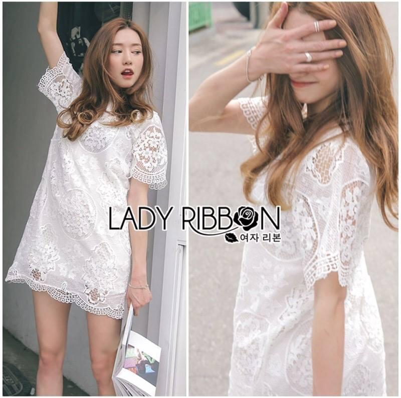 Lady Amanda Classic White Bold Lace Dress L194-69B06