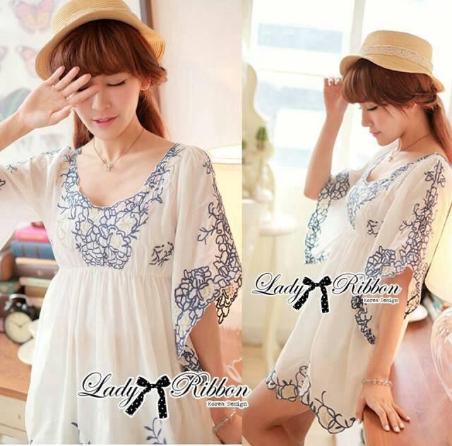 DR-LR-265 Lady Eliza Pretty Embroidered Brocade Kaftan Mini Dress