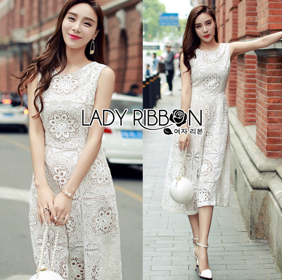 Lady Katy Smart Casual White Guipure Lace Jumpsuit L272-8917