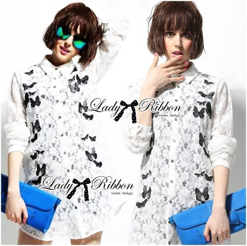 Lady Ana Butterfly Embroidered Guipure Lace Shirt Lace L157-65C04