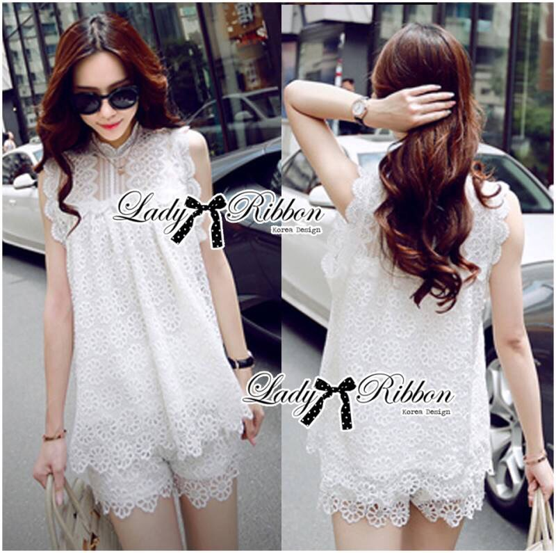 Lady Blaire Pretty Sweet Floral White Lace Ensemble Set