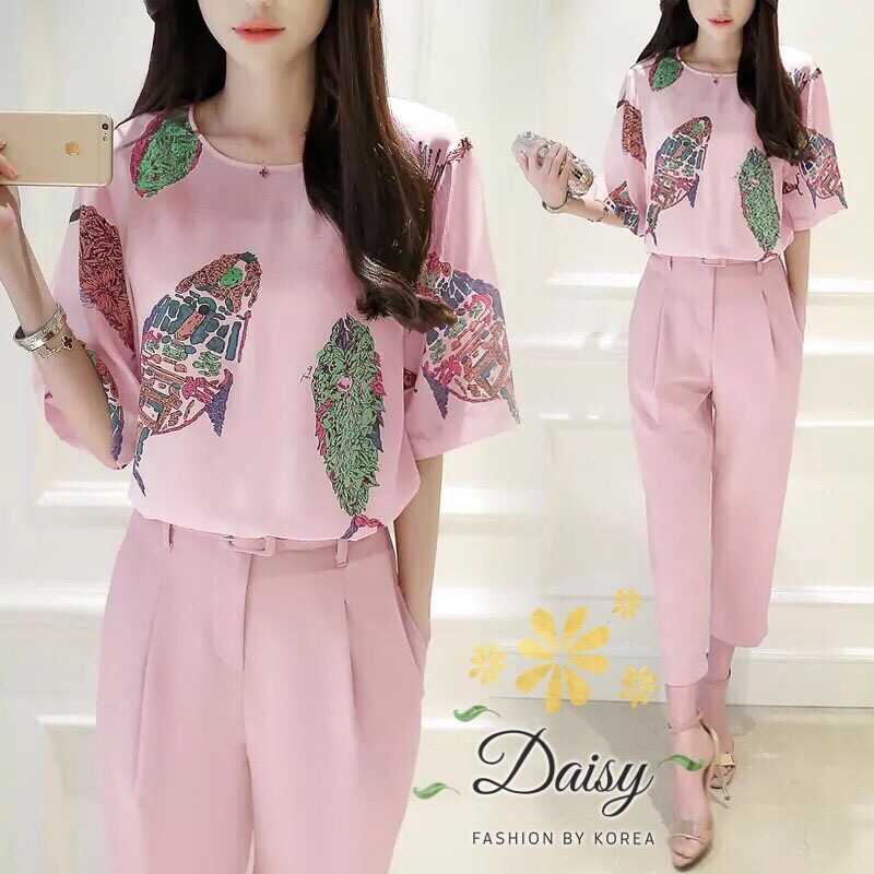 Daisy geogior soft pink and pant with belt