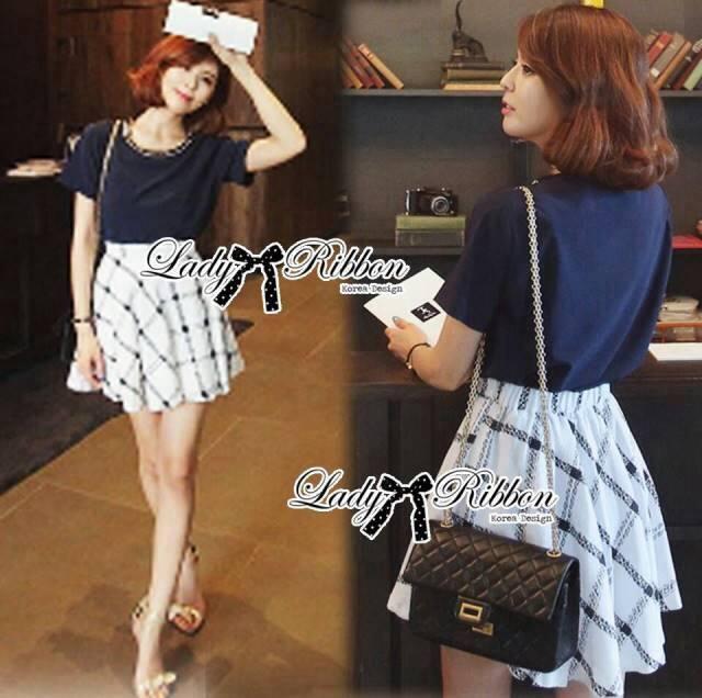Lady Chloe Plain T-Shirt and Checked Skirt Set