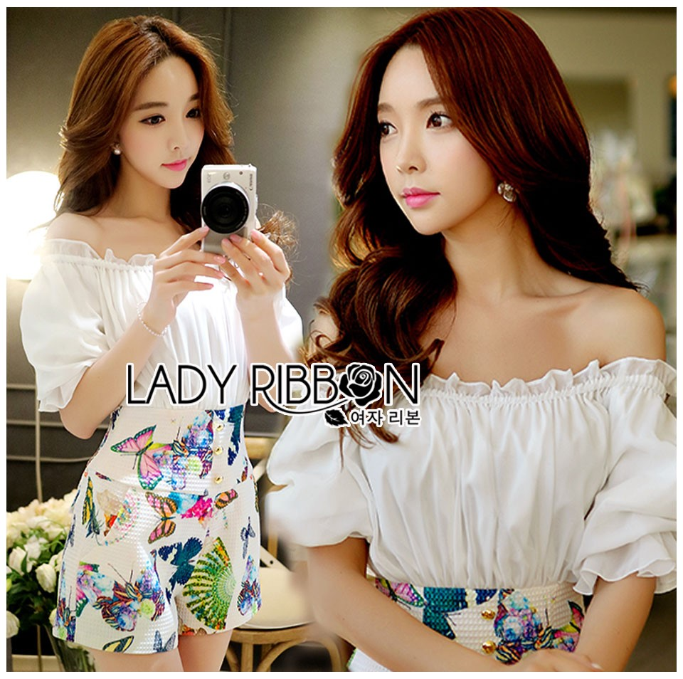Lady Cathy Off-Shoulder Chiffon with Butterfly Printed Playsuit L260-7518