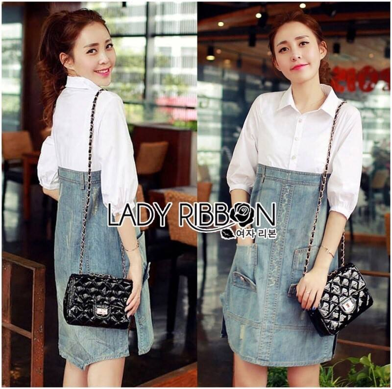 Lady Coco Cotton White Shirt with Denim Skirt Dress L202-69B10