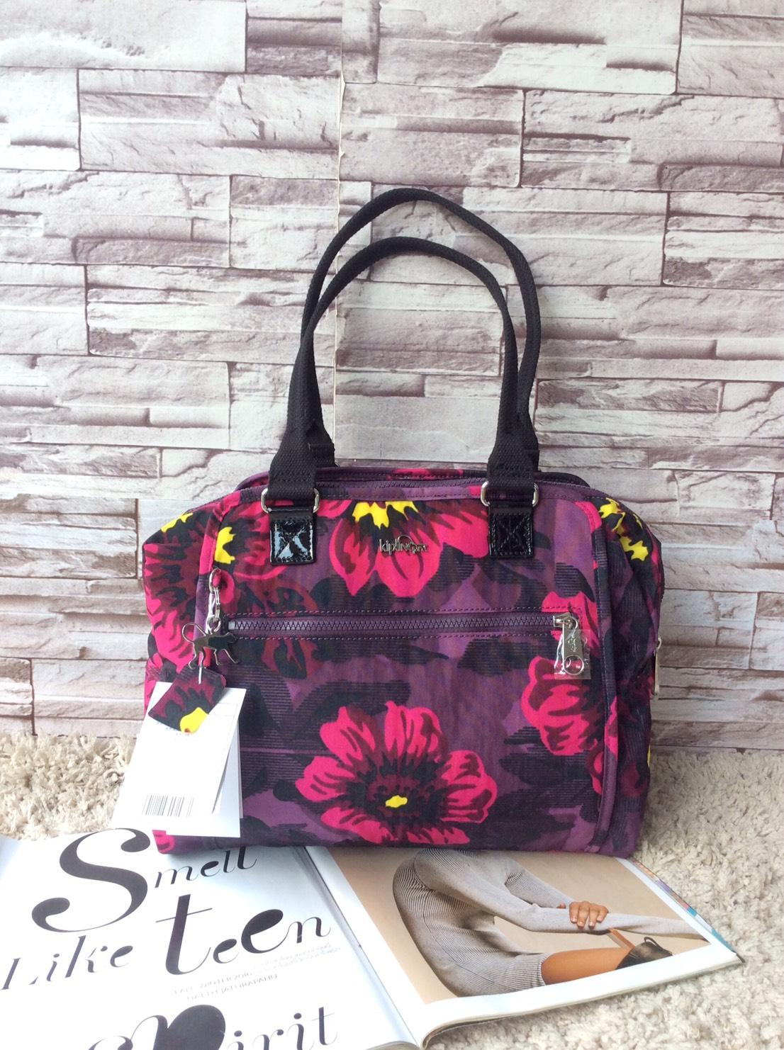 กระเป๋าเป้ Kipling Outlet HK Farbe Mehrfarbig (353 Rose Bloom) แบบหูยาว ไม่มีสายสะพาย