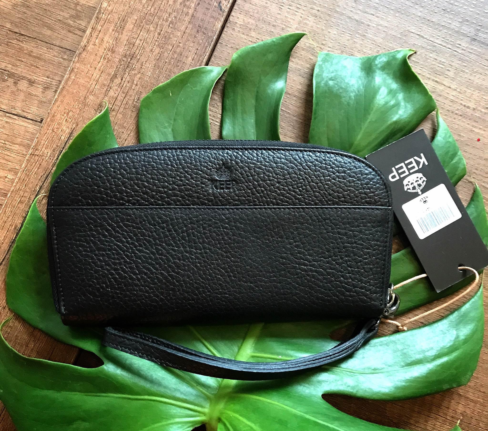 KEEP Gissy zipper Genuie Leather Wallet 2017 สีดำ