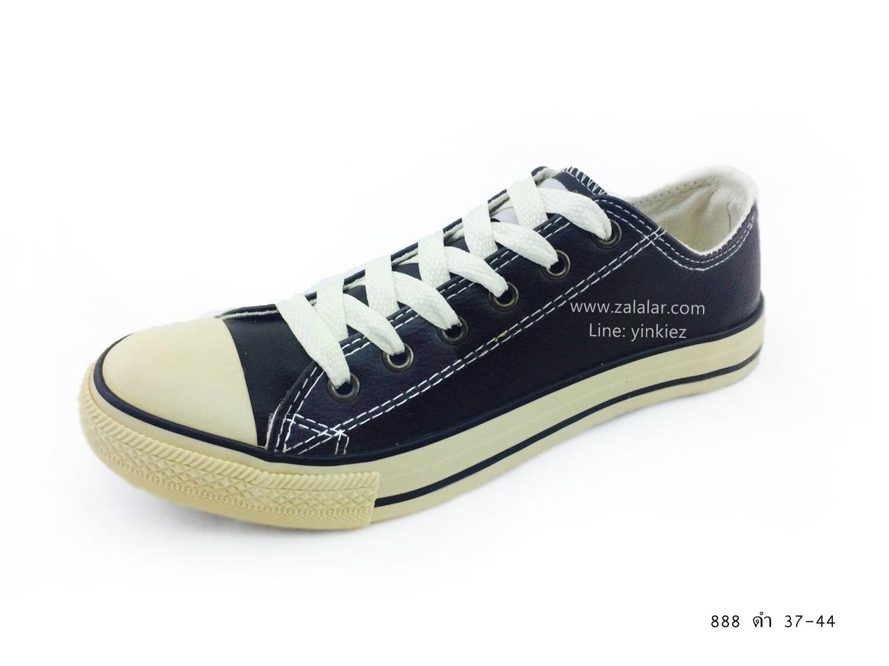 [พร้อมส่ง] รองเท้าผ้าใบแฟชั่น รุ่น 888 สีดำ แบบหนัง