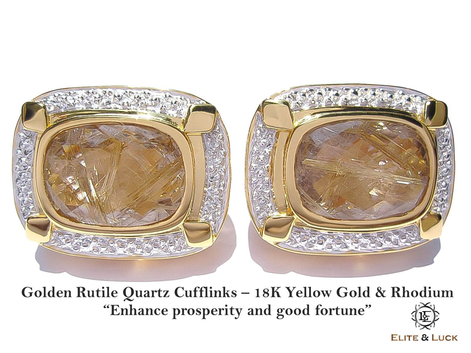 Golden Rutile Quartz Sterling Silver Cufflinks สี 18K Yellow Gold & Rhodium รุ่น Luxury