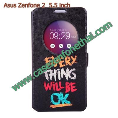 เคส asus zenfone 2 5.5 ze550ml/ze551ml ฝาพับ flip cover EVERYTHING WILL BE OK