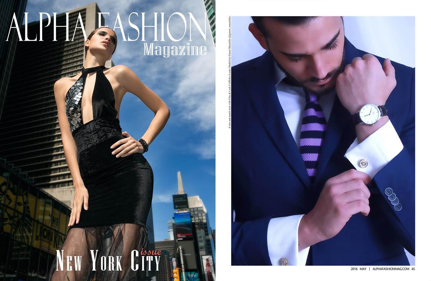 Elite & Luck Cufflinks ในนิตยสาร Alpha Fashion Magazine (New York City Issue) ฉบับเดือนพฤษภาคม 2016.