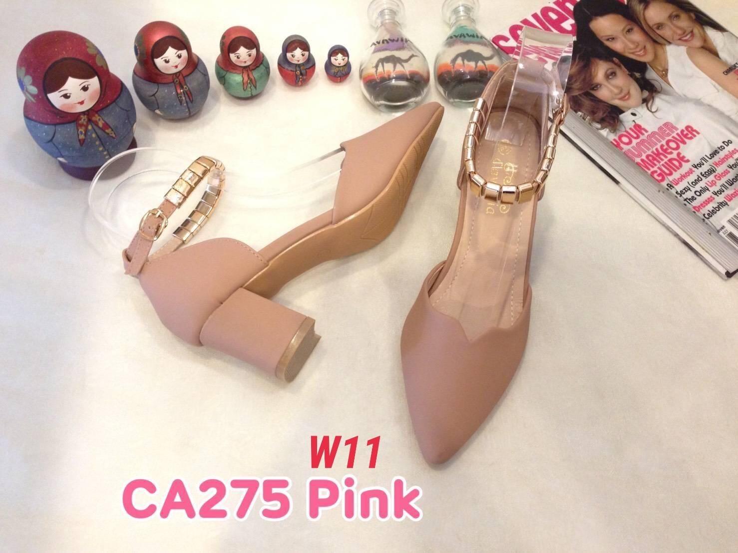 รองเท้าแฟชั่น ส้นเตี้ย รัดข้อ แต่งอะไหล่ทองสวยรัดข้อสวยหรู หนังนิ่ม ทรงสวย สูงประมาณ 2.5 นิ้ว ใส่สบาย แมทสวยได้ทุกชุด (CA275)