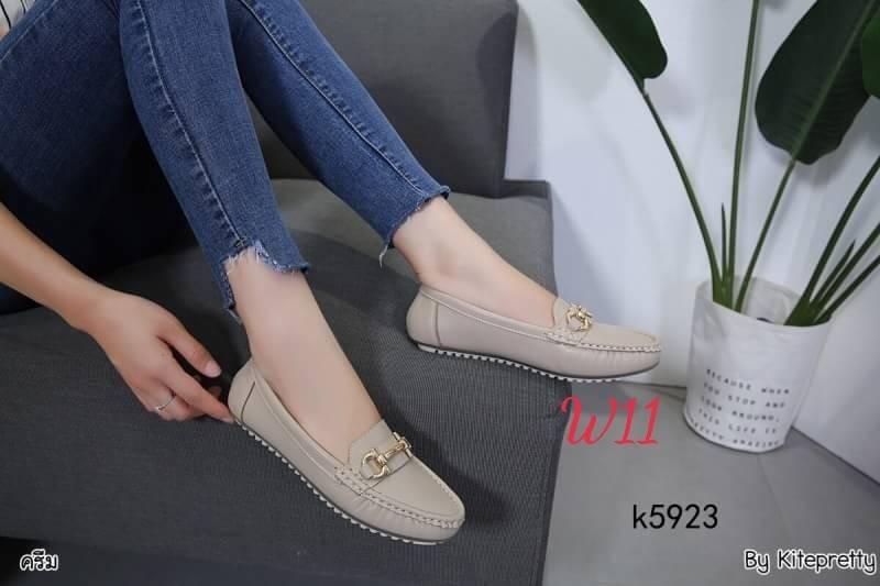 รองเท้าคัทชู ทรง loafer แต่งอะไหล่สไตล์แบรนด์สวยเรียบเก๋ หนังนิ่ม พื้นนิ่ม ทรงสวย ใส่สบาย แมทสวยได้ทุกชุด (K5923)