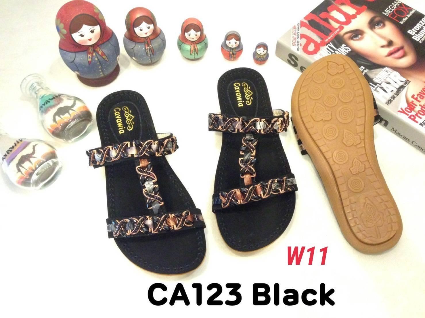 รองเท้าแตะแฟชั่น แบบสวม แต่งอะไหล่สวยหรู หนังนิ่ม พื้นนิ่ม ทรงสวย ใส่สบาย แมทสวยได้ทุกชุด (CA123)