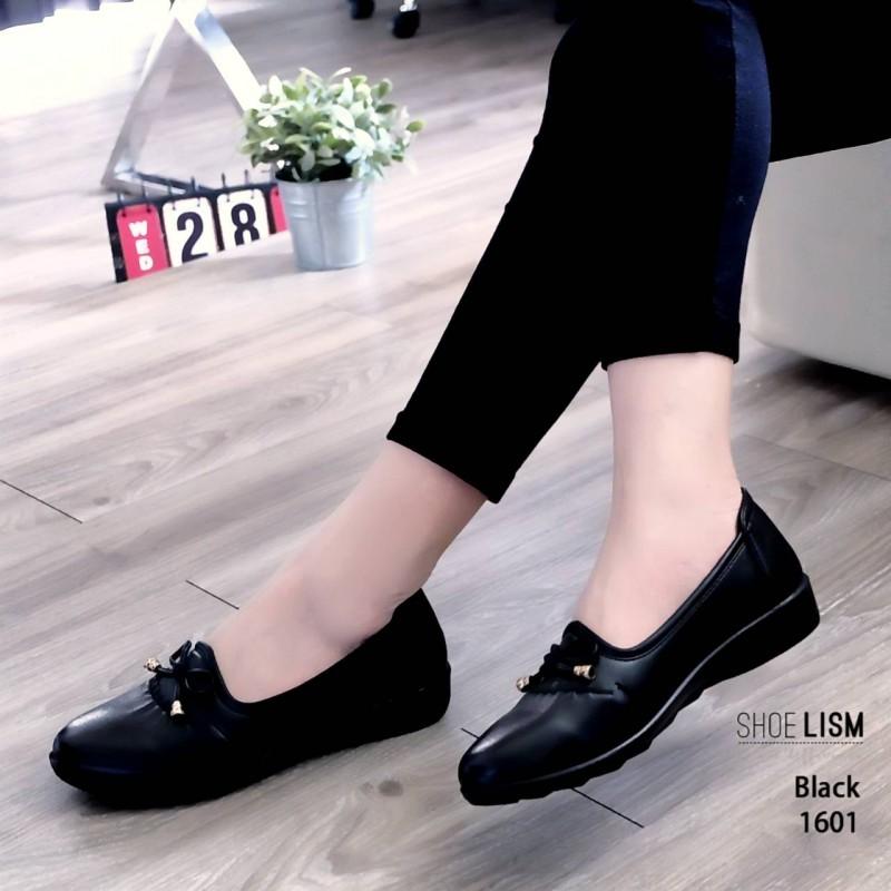 รองเท้าคัทชู ส้นเตี้ย หนังนิ่ม แต่งโบว์สวยน่ารัก ดีไซน์คลาสสิค หนังนิ่ม งานสวย ใส่สบาย ส้นสูง 1 นิ้ว แมทสวยได้ทุกชุด (1601)