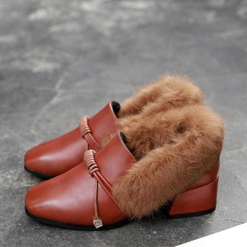 [มี2สี] รองเท้าคัทชูส้นสูง ทำจากหนังไมโครไฟเบอร์ แต่งขนเฟอร์ ขนบุด้านใน ร้อยเชือกด้านหน้า ทรงสวยคุณภาพสูง