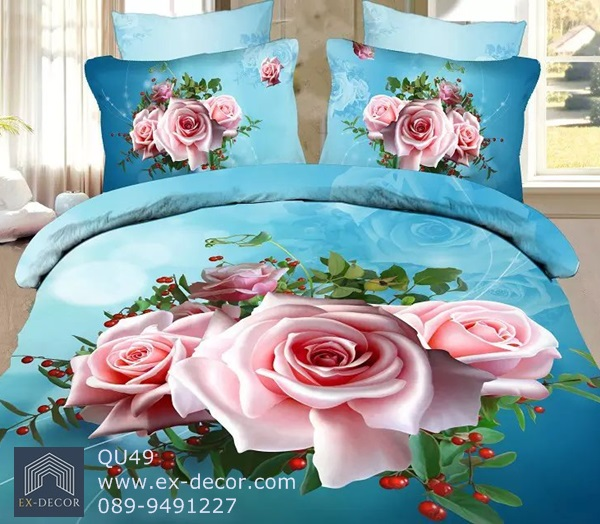 (Pre-order) ชุดผ้าปูที่นอน ปลอกหมอน ปลอกผ้าห่ม ผ้าคลุมเตียง ผ้าฝ้ายพิมพ์ 3D รูปกุหลาบชมพู พื้นสีฟ้า