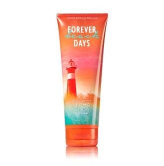**พร้อมส่ง**Bath & Body Works Forever Beach Days 24 Hour Moisture Ultra Shea Body Cream 226g. ครีมบำรุงผิวสุดเข้มข้น เติมความชุ่มชื่นให้กับผิวที่ต้องการการบำรุงเป็นพิเศษอีกทั้งมีกลิ่นหอมสะอาดๆ คล้ายกลิ่นคอนตอนสดชื่น ผสมกับกลิ่นดอกไม้หอมเขตร้อน กลิ่นสด ,