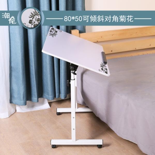 Pre-order โต๊ะทำงานปรับระดับ โต๊ะวางคอมพิวเตอร์ โต๊ะวางแล็ปท้อป เฟอร์นิเจอร์ตกแต่งบ้าน ตกแต่งห้อง แบบปรับได้ทั้งความสูงและองศามุมมอง สีขาวพิมพ์ลายดอกไม้สีดำ