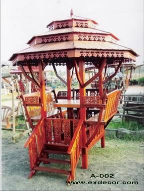 ศาลาทรงไทย ทรงแปดเหลี่ยม หลังคาสามชั้น มีพนักพิงและม้านั่งสามด้าน ไม้เนื้อแข็งรวม ศาลาไม้สำหรับนั่งเล่นในสวน
