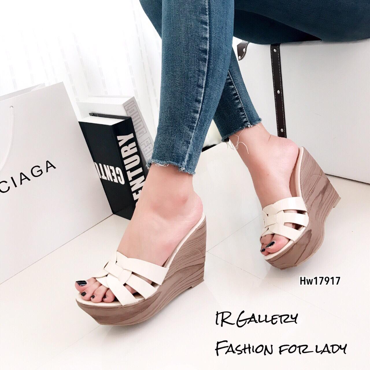 รองเท้าส้นเตารีดหนังเงา Style YSL (สีครีม)