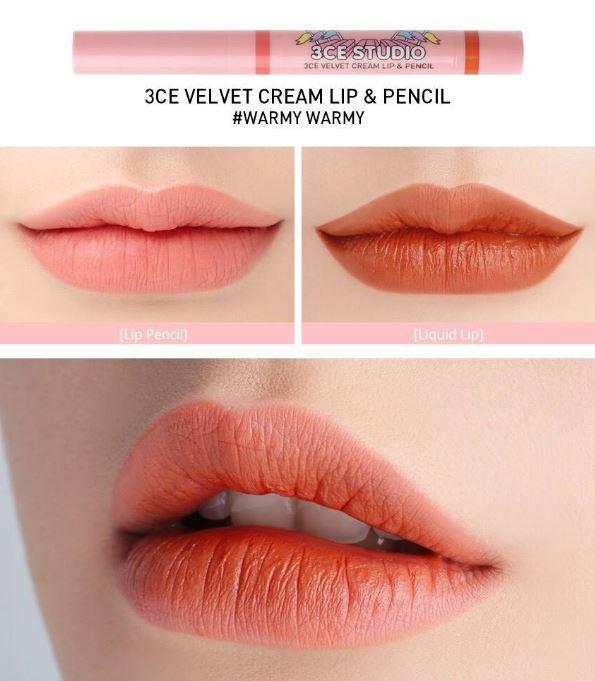 *พร้อมส่ง*3CE Studio Velvet Cream Lip & Pencil #Warmy Warmy ลิปแท่ง 2 หัว ด้านหนึ่งเป็นแบบจุ่มลิปลิควิดที่เนื้อ Vetvet เนื้อแมทกำมะหยี่กึ่งทิ้นส์ สีสวยติดทนนาน อีกด้านเป็นลิปดินสอเนื้อครีมแมท สามารถทาไล่เฉด หรือไว้สำหรับตัดขอบปากก็ได้ ลิปสติกสีเป๊ะ ,