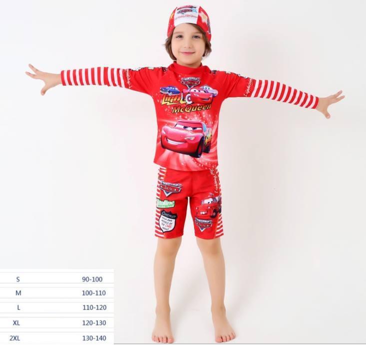 ชุดเซ็ตว่ายน้ำแมคควีน แขนยาว+กางเกง+หมวก