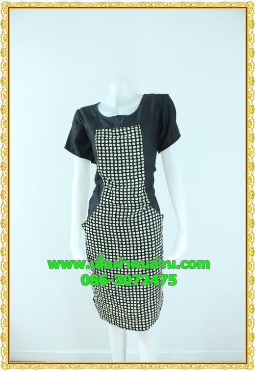 2440ชุดทํางาน เสื้อผ้าคนอ้วนคอกลมดอกตัดต่อพิ้นช่วงบ่าปรับสรีระให้บางและพรางรูปร่างเทรนด์คลาสสิคสีดำมีซับใน