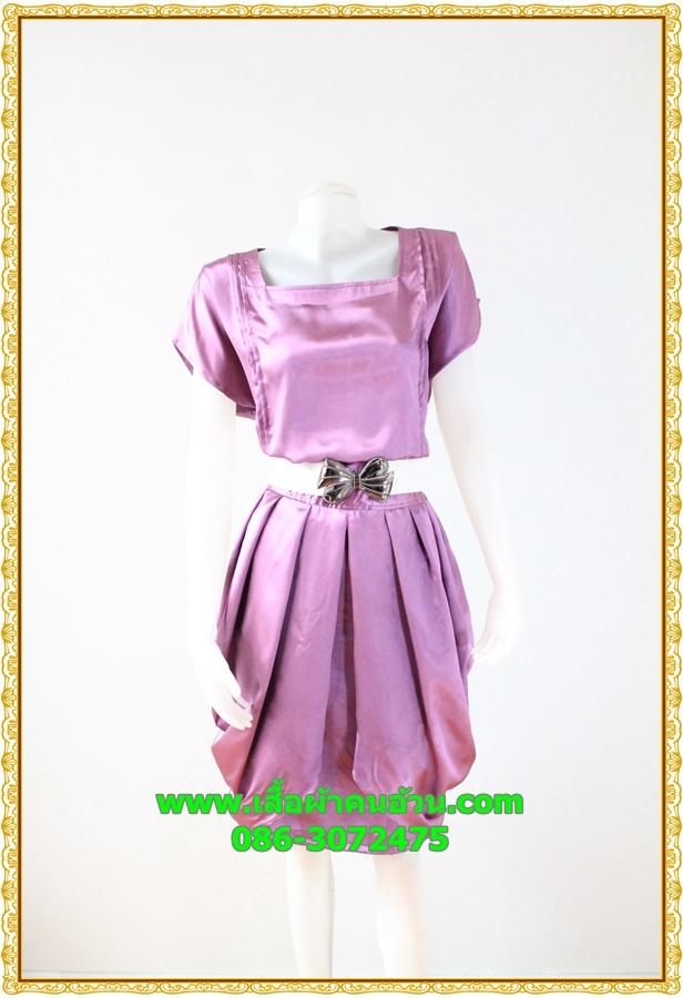2875เสื้อผ้าคนอ้วน ชุดออกงานผ้าซาตินสีกลีบบัวโดดเด่นกระโปรงจีบแยกเป็นชั้นๆไล่ระดับสวยงามอลังการชุดสะท้อนไฟสดใสหรูหรา