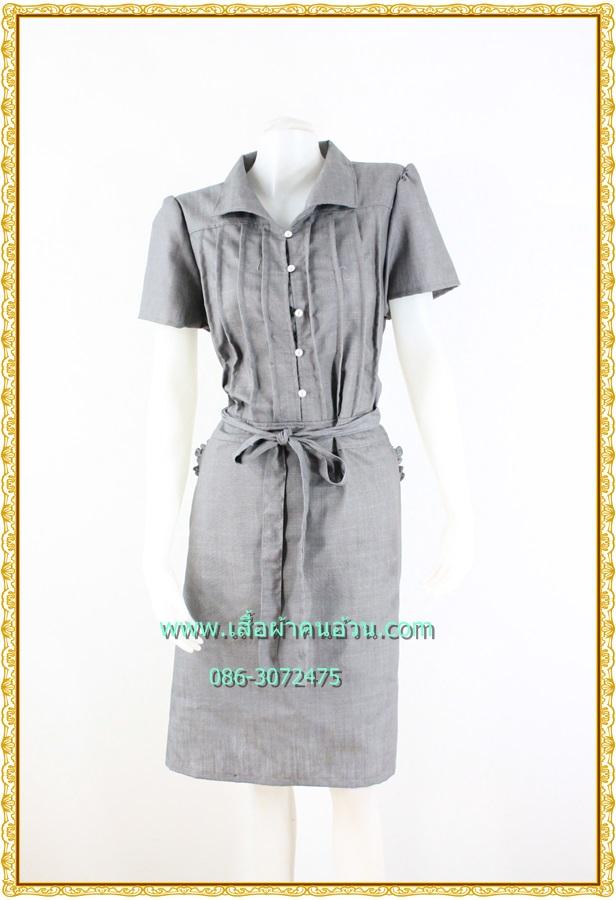 3142เสื้อผ้าคนอ้วน ชุดเดรสทำงานสีเทาบรอนผ้าชู๊ตติ้งตีเกล็ดด้านหน้าสะดุดตาสไตล์เรียบดีเทลเนี๊ยบสวมใส่ได้หลายโอกาส