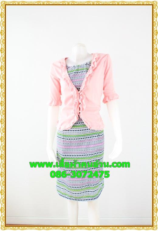 2680ชุดแซกทำงาน เสื้อผ้าคนอ้วนสีชมพูคลุมด้วยตัวนอกแต่งระบายปกแขนสไตล์หรูเนี๊ยบสีดำลายไทยหรูเนี้ยบ