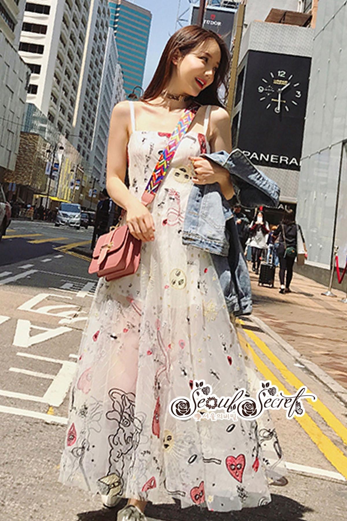 White Line Dress With Black Fancy Stripes ขาว