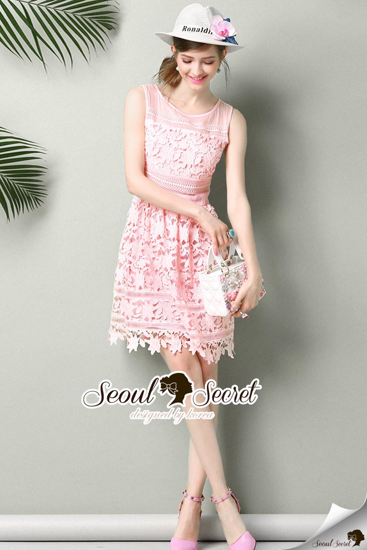 Seoul Secret Say's .... Pastel Pink Princess Lace Dress