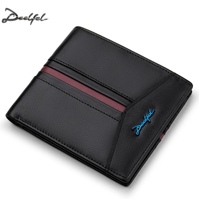 DEELFEL GS04 กระเป๋าสตางค์ผู้ชายหนังแท้ กระเป๋าสตางค์ใบสั้น แนวนอน สีดำ กระเป๋าเงิน กระเป๋าถือ