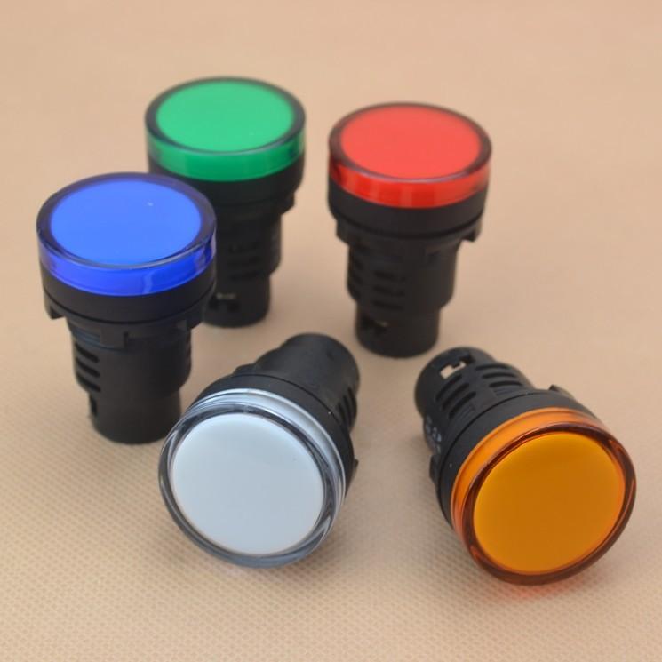 หลอดไฟสัญญาณ LED สีน้ำเงิน ขนาด 22 มม Light Indicator Signal Lamp AC/DC 12V Pilot Lamp
