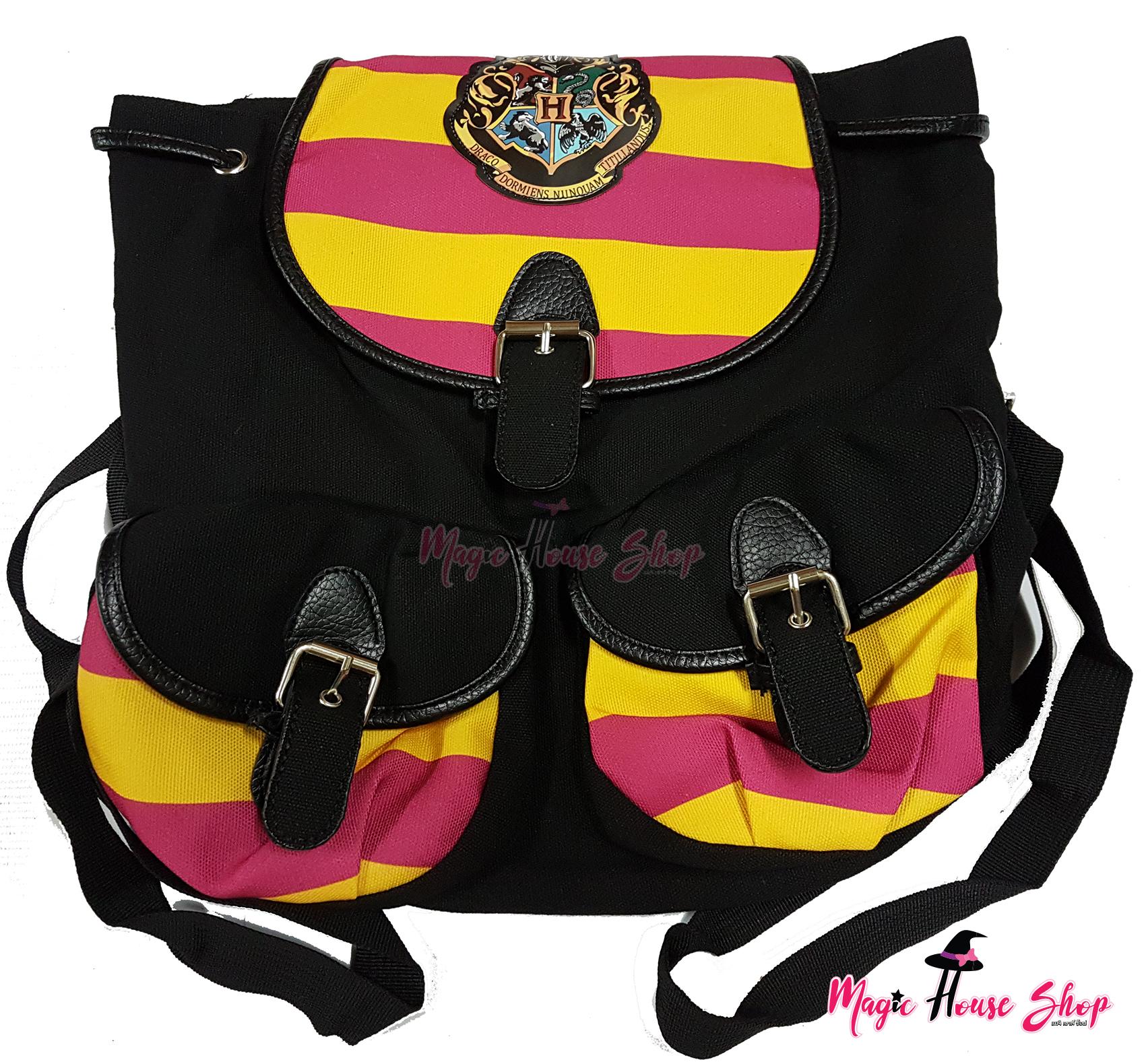 กระเป๋าสะพายหลังฮอกวอตส์สีดำ แทบสีชมพูบานเย็นสลับเหลือง