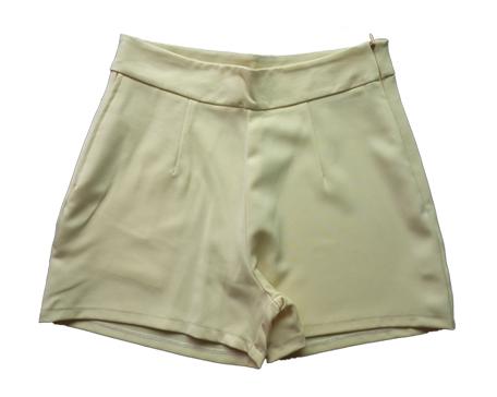 กางเกงขาสั้นเอวสูงผ้าฮานาโกะ สีเหลือง กระเป๋าขวา ซิปซ้าย Size S M L XL