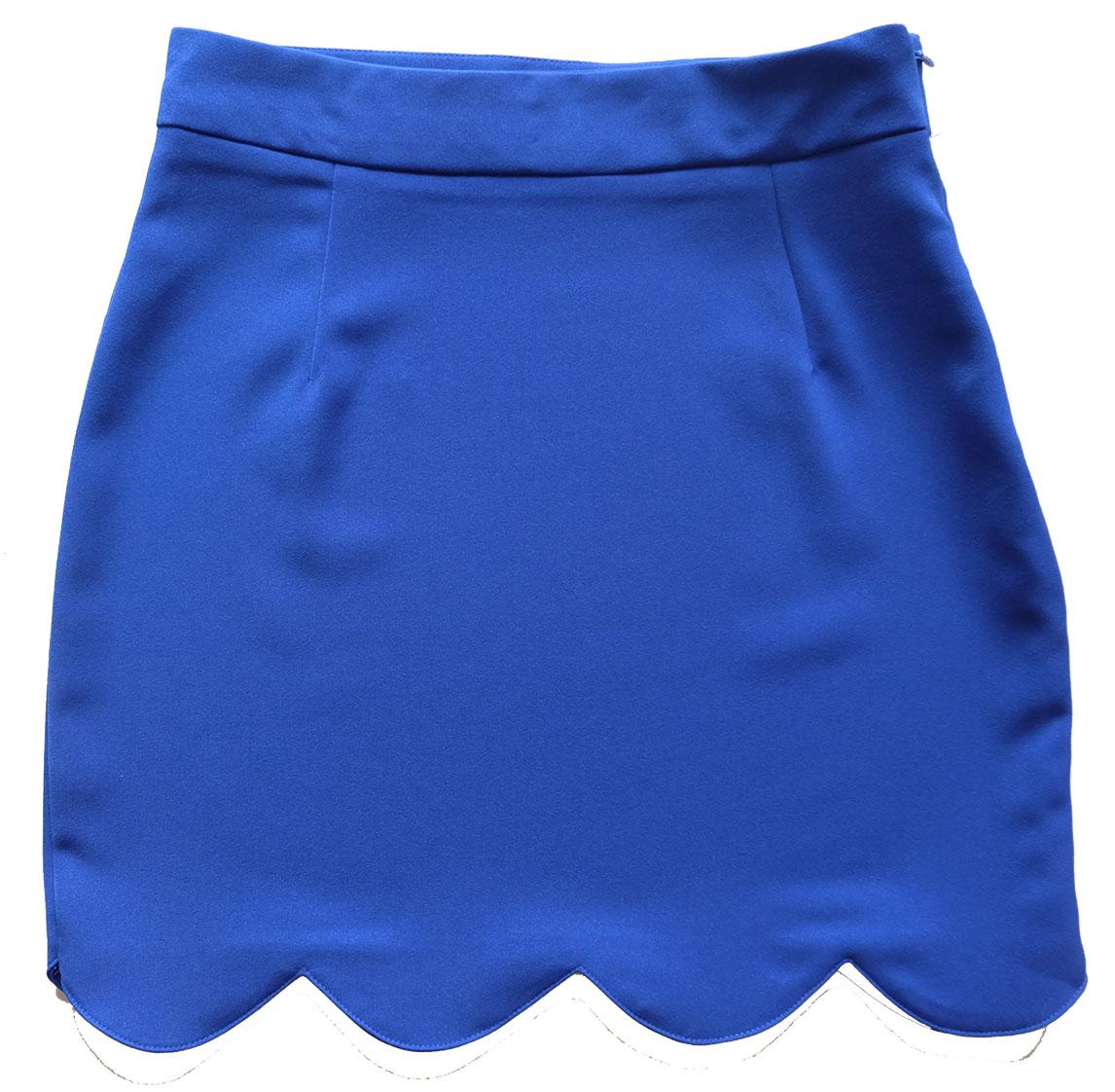 กระโปรงปลายหยัก ผ้าฮานาโกะ สีน้ำเงิน Size S M L XL