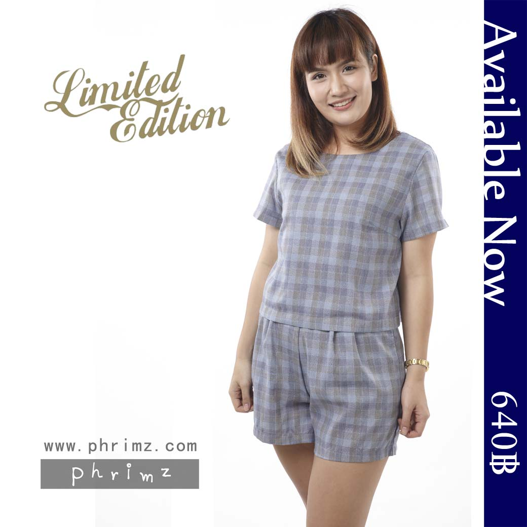 ชุดให้นม Phrimz : Nalynn Breastfeeding Top with Shorts - Blue