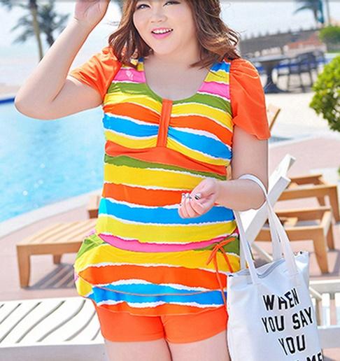ชุดว่ายน้ำไซส์ใหญ่พร้อมส่ง :ชุดว่ายน้ำแฟชั่นสีส้มเหลืองลายทาง กางเกงขาสั้นใส่ด้านในน่ารักมากๆจ้า:รอบอก40-48นิ้ว เอว34-44นิ้ว สะโพก38-48นิ้วจ้า
