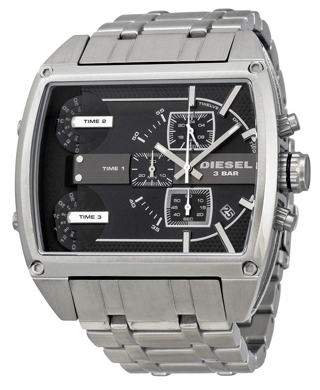 นาฬิกาผู้ชาย Diesel รุ่น DZ7324, Mother Ship Black 3 Time Zone Dial Stainless Steel