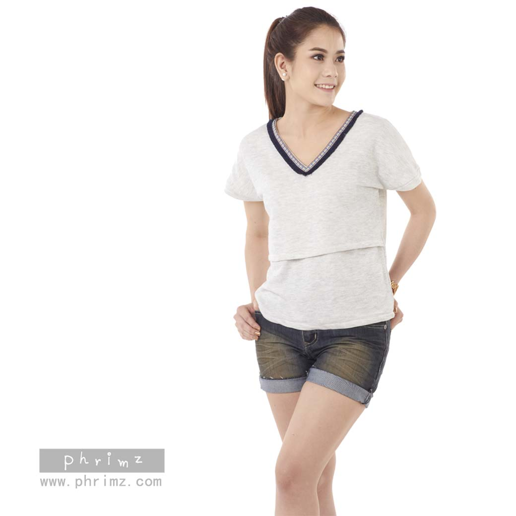 เสื้อให้นม Phrimz : Jasmine Breastfeeding Top - Gray