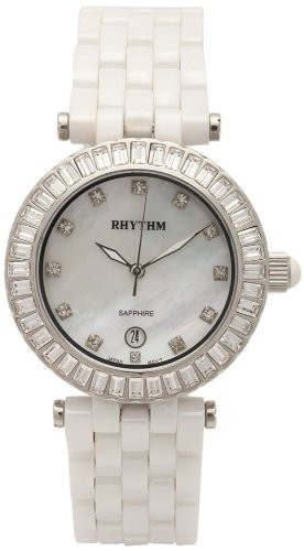 นาฬิกาผู้หญิง Rhythm รุ่น C1104C01, Sapphire White Ceramic Swarovski Mother Of Pearl C1104C-01, C1104C 01
