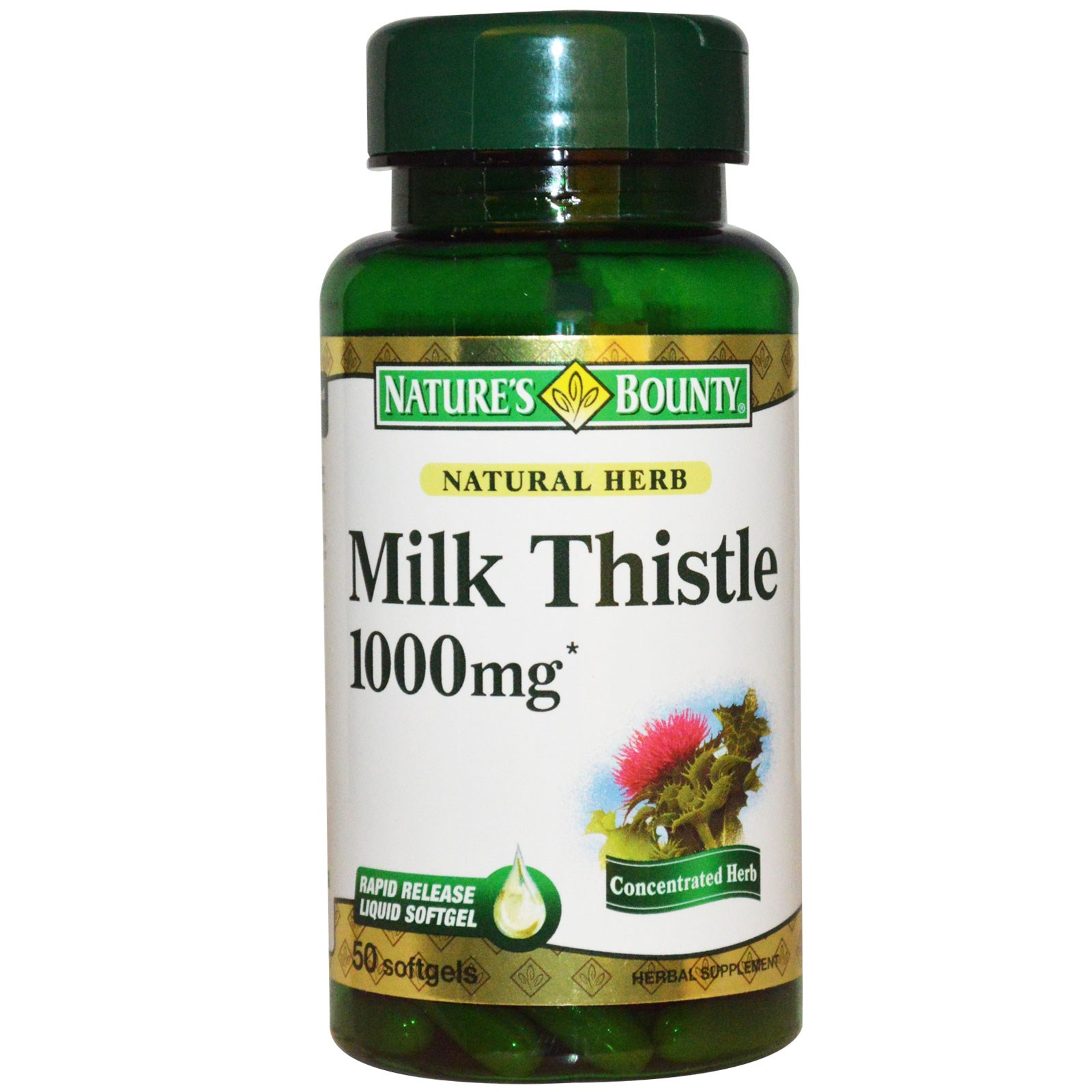 Nature's Bounty Milk Thistle 1000 mg 50 Softgels
