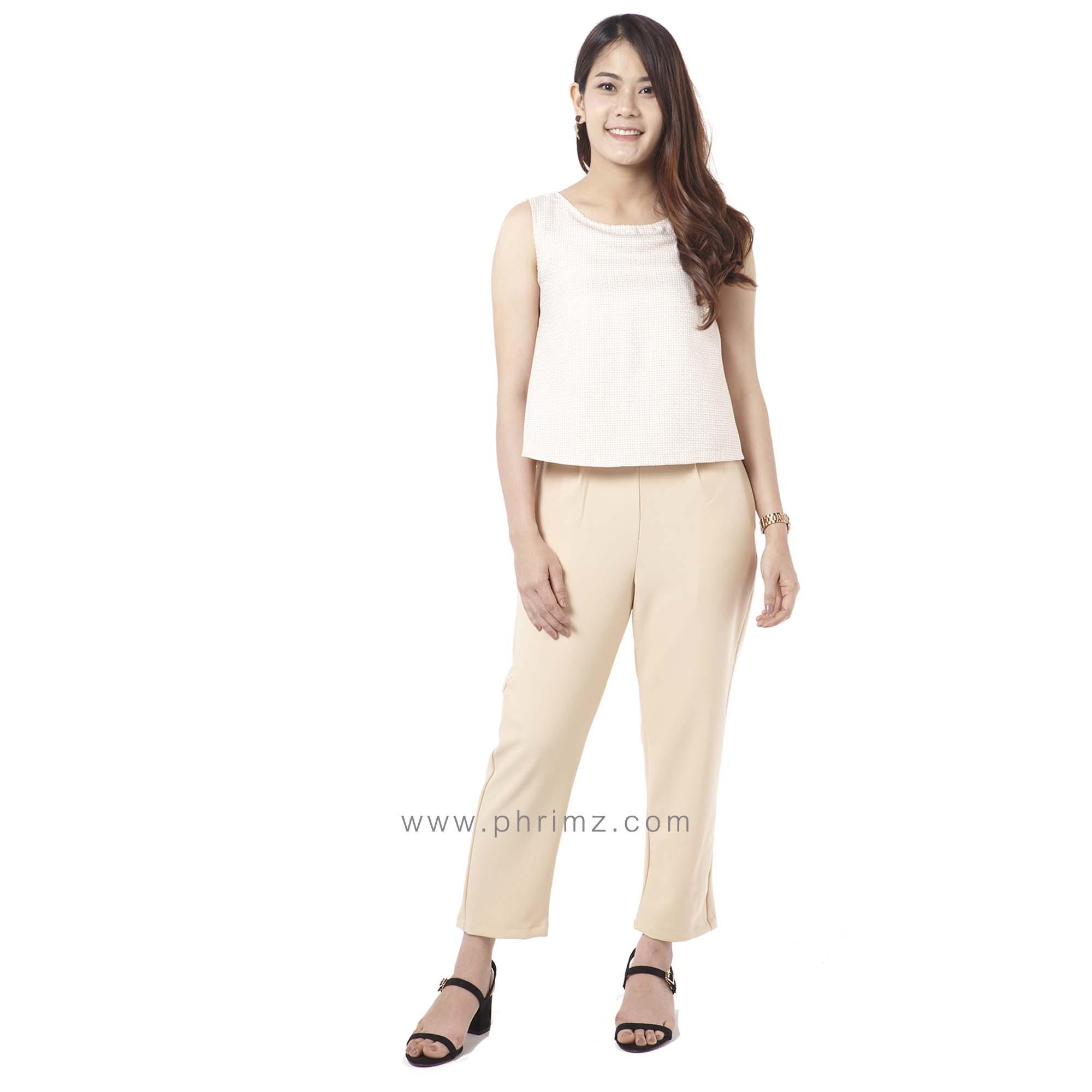 ชุดให้นม Phrimz : Honae Breastfeeding Jumpsuit - Whip Cream