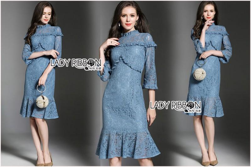 เสื้อผ้าแฟชั่นเกาหลี Lady Ribbon's Made Lady Lizzy High-Neck Ruffle Dark Blue Lace Dress